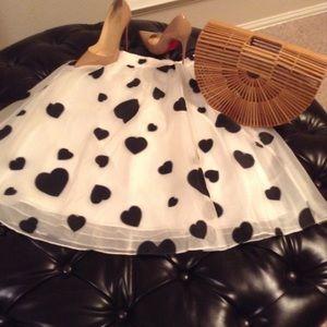 J.Crew black heart and white skirt